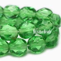 6mm Faceted Round Firepolished Bead Shamrock Green