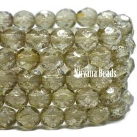 6mm Faceted Round Firepolished Bead Pale Olive with Mercury Finish
