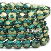 6mm Faceted Round Firepolished Bead Blue Green with Gold Luster