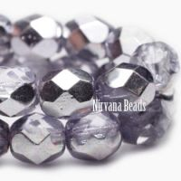 6mm Faceted Round Firepolished Bead Thistle with Mirror Finish