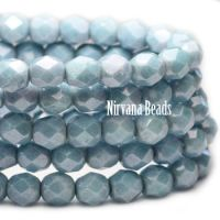 6mm Faceted Round Firepolished Bead Light Slate Blue