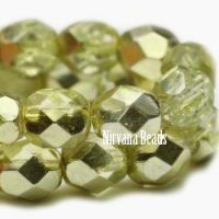 6mm Faceted Round Firepolished Bead Chartreuse with Chartreuse Mirror Finish