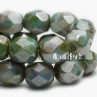 6mm Faceted Round Firepolished Bead Medium Aquamarine with Picasso Finish