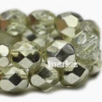 6mm Faceted Round Firepolished Bead Pale Yellow with Yellow Mirror