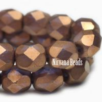 6mm Faceted Round Firepolished Bead Matte Bronze with Violet Shimmer