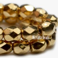 6mm Faceted Round Firepolished Bead Gold