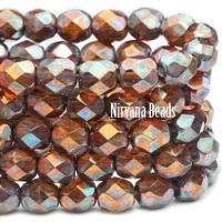 6mm Faceted Round Firepolished Bead Amber with Metallic Rust Finish