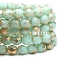 6mm Faceted Round Firepolished Bead Mint with Gold Finish
