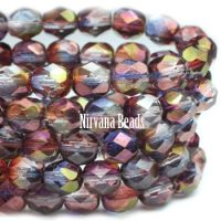 6mm Faceted Round Firepolished Bead Purple Mix with Luster Finish