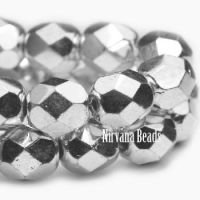 6mm Faceted Round Firepolished Bead Silver