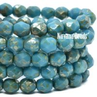 6mm Faceted Round Firepolished Bead Teal with a Golden Bronze Finish