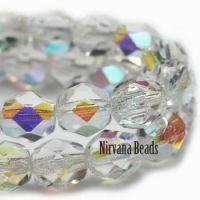 6mm Faceted Round Firepolished Bead Transparent Glass with AB Finish