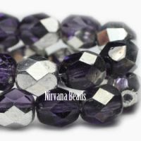 6mm Faceted Round Firepolished Bead Violet with Mirror Finish