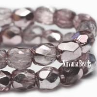 6mm Faceted Round Firepolished Bead Cameo Pink with Mirror Finish