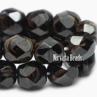 6mm Faceted Round Firepolished Bead Black with Amber Swirl