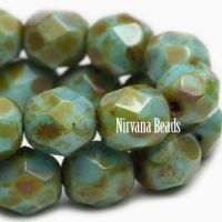 6mm Faceted Round Firepolished Bead Medium Sky Blue with Picasso Finish