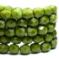 6mm Faceted Round Firepolished Bead Avocado