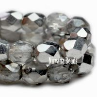 6mm Faceted Round Firepolished Bead Transparent Glass with Mirror Finish