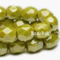 6mm Faceted Round Firepolished Bead Peridot