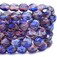 6mm Faceted Round Firepolished Bead Mulberry and Sapphire