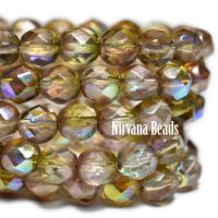 6mm Faceted Round Firepolished Bead Yellow and Pink with An AB Finish
