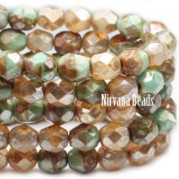6mm Faceted Round Firepolished Bead Champagne and Sea Green