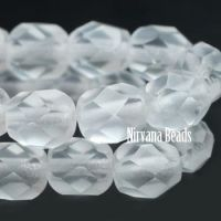 6mm Faceted Round Firepolished Bead Frosted Glass