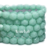 6mm Faceted Round Firepolished Bead Mint