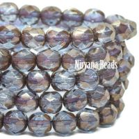 6mm Faceted Round Firepolished Bead Light Blue with Matte Bronze Finish