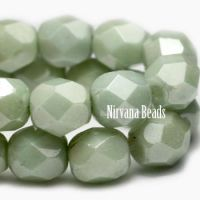 6mm Faceted Round Firepolished Bead Laurel Green