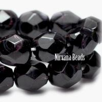 6mm Faceted Round Firepolished Bead Eggplant