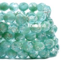 6mm Faceted Round Firepolished Bead Tea Green with a Mercury Finish