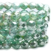 6mm Faceted Round Firepolished Bead Tea Green with Mercury Finish