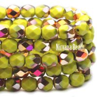 4mm Faceted Round Firepolished Bead Peridot with Orange-gold AB Finish