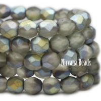 6mm Faceted Round Firepolished Bead Matte Grey with AB Finish