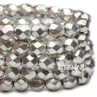 6mm Faceted Round Firepolished Bead Antique Silver
