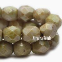 6mm Faceted Round Firepolished Bead Pale Olive with Picasso Finish