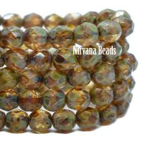6mm Faceted Round Firepolished Bead Amber with Picasso Finish