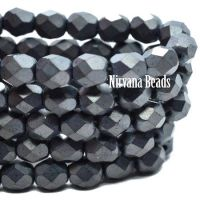 6mm Faceted Round Firepolished Bead Charcoal