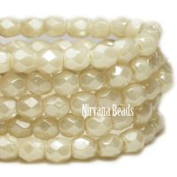 4mm Faceted Round Firepolished Bead Ivory with Luster Finish