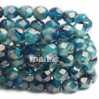 6mm Faceted Round Firepolished Bead Pacific Blue Blend