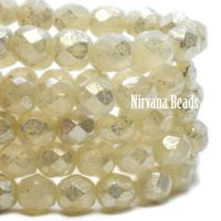 6mm Faceted Round Firepolished Bead Yellow Ivory with Mercury Finish