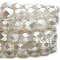 6mm Faceted Round Firepolished Bead Opal with Mercury Finish