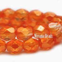 6mm Faceted Round Firepolished Bead Orange