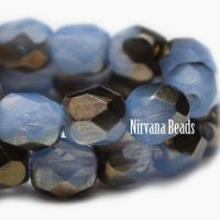 6mm Faceted Round Firepolished Bead Cornflower and Bronze