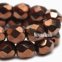 6mm Faceted Round Firepolished Bead Bronze