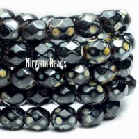 6mm Faceted Round Firepolished Bead Black with Picasso Finish