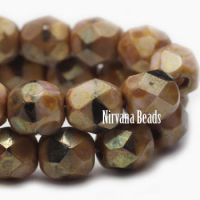 6mm Faceted Round Firepolished Bead Tan, Black, and Pink with Gold Finish