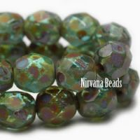 6mm Faceted Round Firepolished Bead Green with Picasso Finish