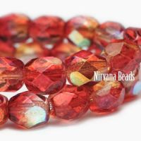 6mm Faceted Round Firepolished Bead Crimson and Pale Yellow with AB Finish